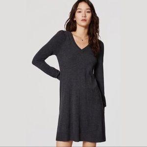 NWT LOFT Charcoal Grey Swing Sweater Dress